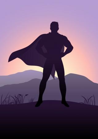hombre: Ilustración de la silueta de un superhéroe de pie con vistas a la montaña como fondo