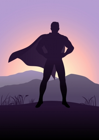 Silhouette illustration of a superhero standing with mountain view as the background