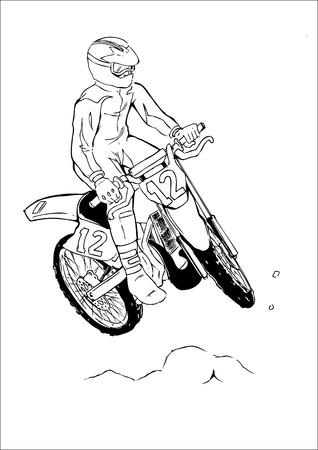 extremesport: sketch of a man riding a motocross