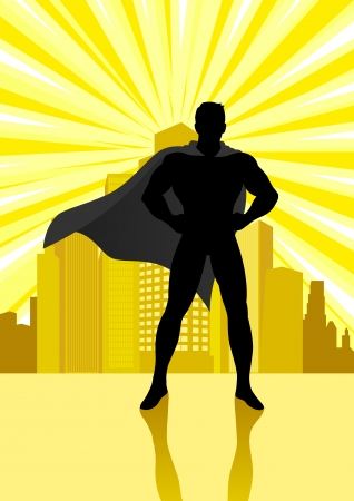 Silhouette illustration of a superhero standing in front of cityscape Illustration