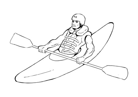 kayaking: Sketch illustration of a man kayaking