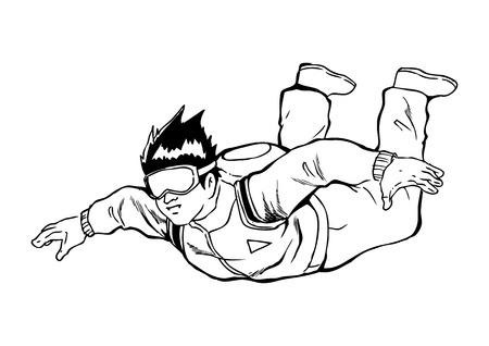 parachuter: Sketch illustration of a sky diver Illustration