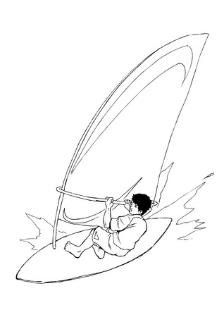 windsurf: Ilustración Boceto de un surfista de viento Vectores