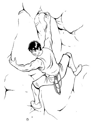 Sketch illustration of a man climbing the rock Illustration