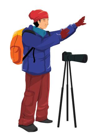 Illustration of an outdoor photographer illustration