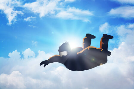 parachuter: Silhouette illustration of a sky diver Stock Photo