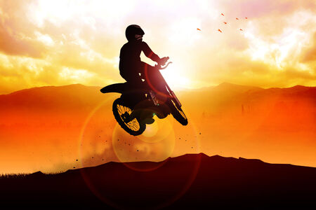 off road: Silhouette of a man figure riding a motocross