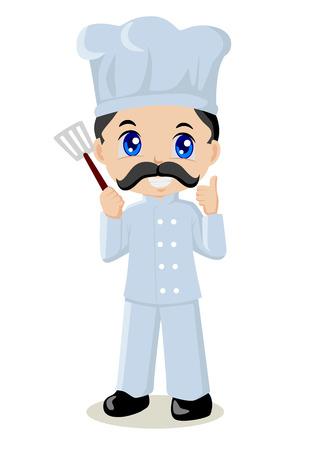 Cute cartoon illustration of a chef Vector