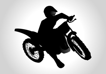 dirtbike: Silhouette illustration of a man on motocross