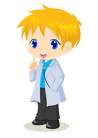 stethescope: Cute cartoon illustration of a doctor Illustration