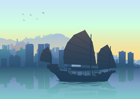 Silhouette illustration of Junk boat in Hong Kong Vector