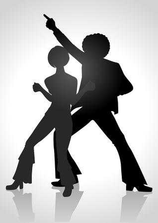 Ilustración de la silueta de una pareja bailando en el estilo de la moda de los 70