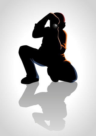 Silhouette illustration of a photographer Vector