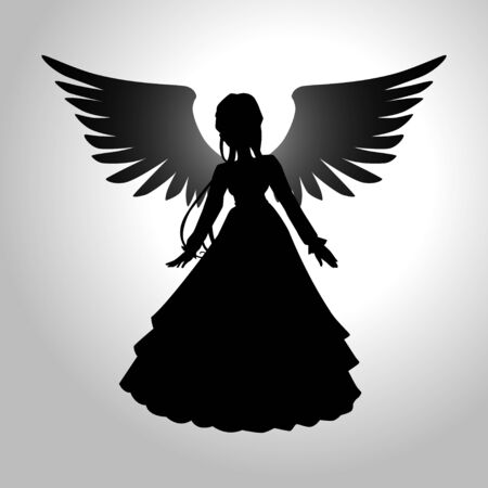 wing figure: Silhouette illustration of an angel Illustration