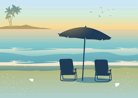 canopy: Illustration of relaxing canopy near the beach Illustration