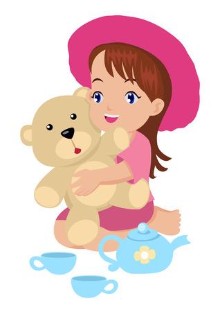 teddy: Cartoon Illustration von einem M�dchen spielen mit ihrem Spielzeug Illustration
