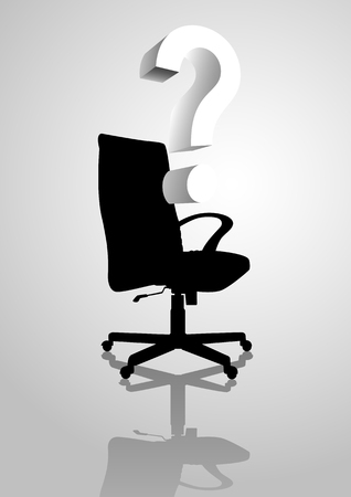 Conceptual illustration of an empty chair with question mark symbol, analogies for empty position Vector