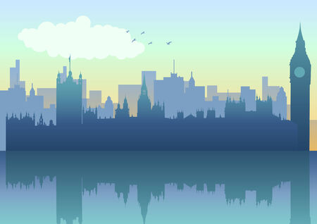 Illustration of London skyline in silhouette Vector