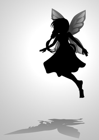 Silhouette illustration of a pixie Vector