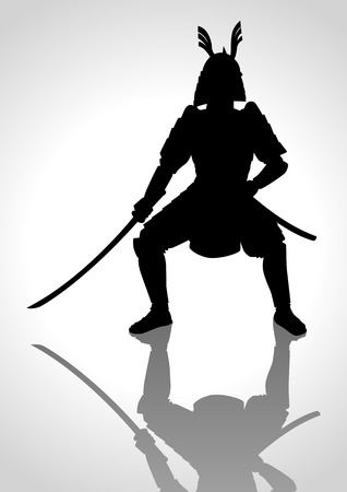 military silhouettes: Silhouette illustration of a samurai general