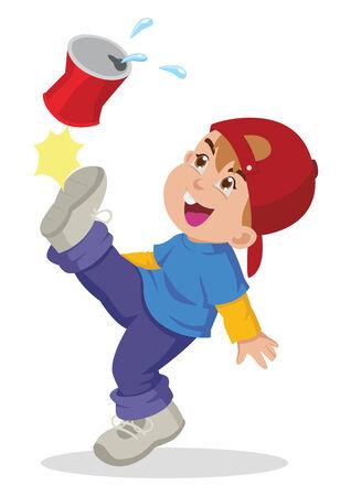 naughty boy: Cartoon illustration of a boy kicking an empty cans