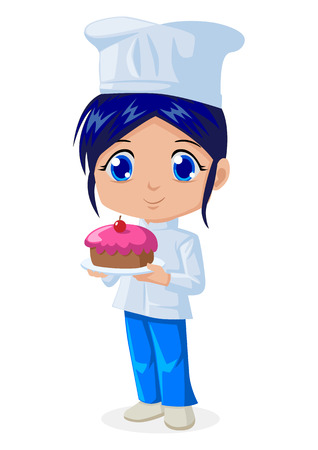 Cute cartoon illustration of a chef Vector