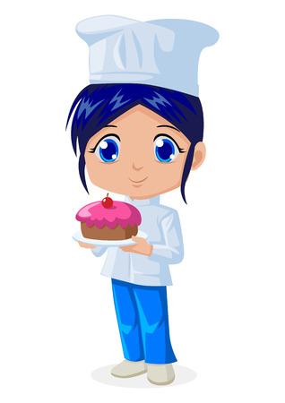 k�che: Nette Karikaturillustration eines Kochs
