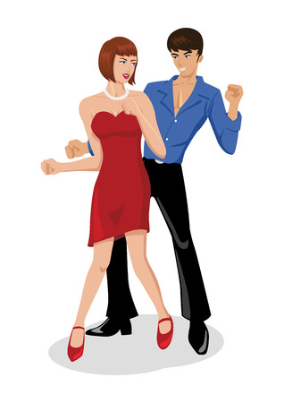 cartoon dance: Illustration of a couples are dancing Illustration