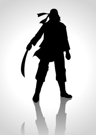 corsair: Silhouette illustration of a man holding a sabre