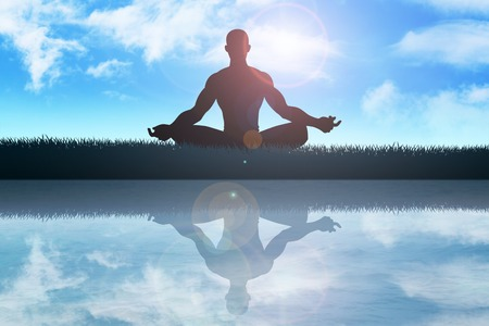 Silhouette illustration of a male figure meditating at the outdoor illustration
