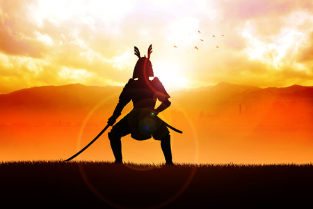 warrior pose: Silhouette illustration of a samurai general