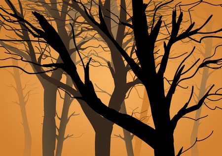 Silhouette illustration of branches without leaves