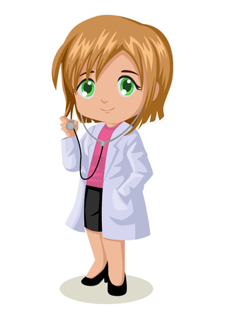 doctor stethoscope: Cute cartoon illustration of a female doctor