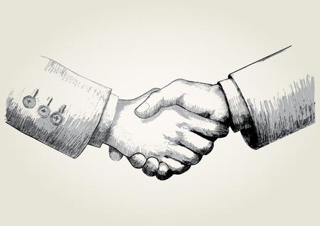 Schets illustratie van handen schudden