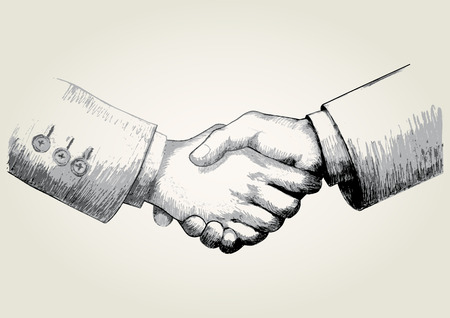 shake hand: Sketch illustration of shaking hands