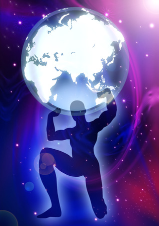 Illustration of a man figure lifting up the Globes on cosmic background