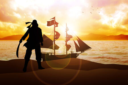 sword silhouette: Silhouette illustration of a pirate and a sailboat