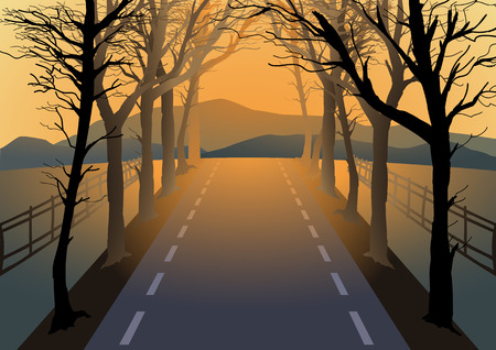 rise fall: Illustration of empty road with dried trees by the roadside
