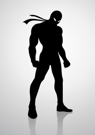 bodybuilder man: Silhouette illustration of a superhero in a mask