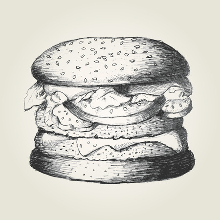 Sketch illustration of a hamburger Vector