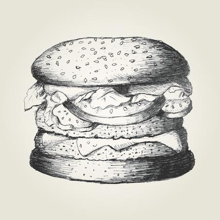 gourmet burger: Sketch illustration of a hamburger Illustration
