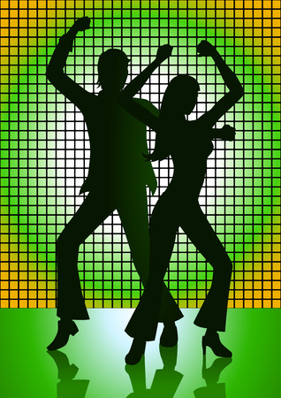 Silhouette Illustration of couple dancing with green light as the background Vector