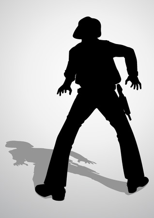 gunslinger: Silhouette illustration of a cowboy ready to draw a gun