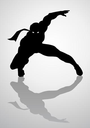 brawny: Silhouette illustration of a masked superhero Illustration