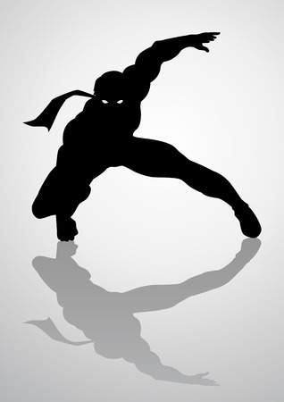 Silhouette illustration of a masked superhero Illustration
