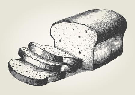 Sketch illustration of sliced bread Vector