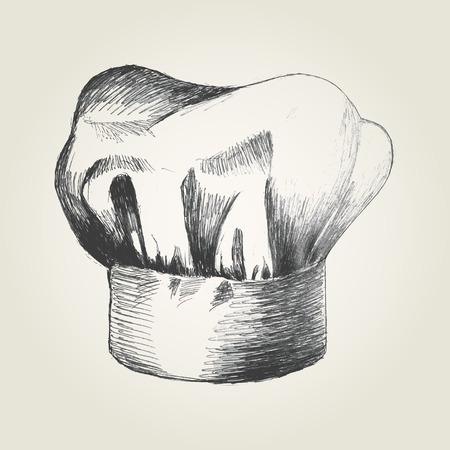 Ilustración Boceto de un sombrero de chef Vectores