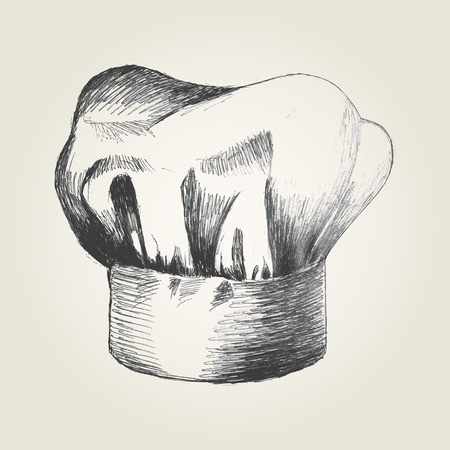 gorro de chef: Ilustraci�n Boceto de un sombrero de chef Vectores