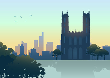 notre: Silhouette illustration of Montreal  Canada  skyline