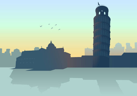 leaning tower of pisa: An illustration of Pisa  Italy  skyline with it s leaning tower